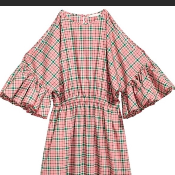600952f50814 H M NWT pink plaid checked bell sleeve dress